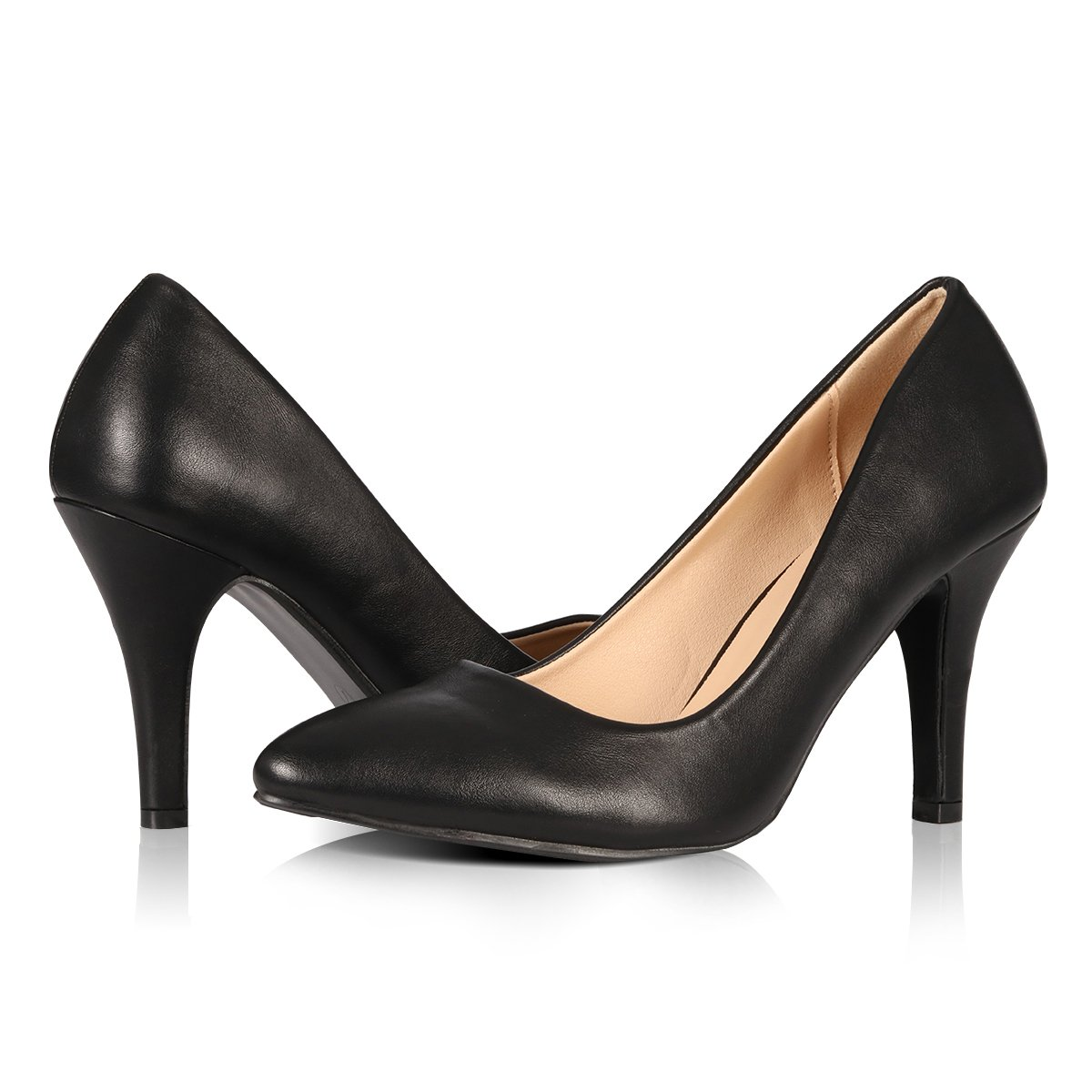 Yeviavy High Heels - Women's Pumps Stiletto Pointy Toed Dress Fashion Shoes JennaN Black PU 7.5