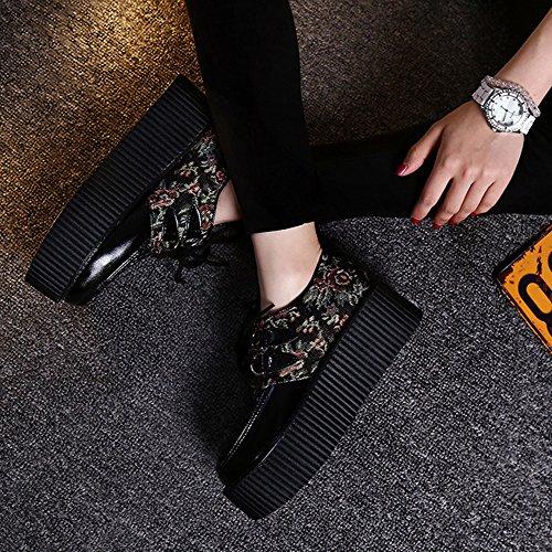 RoseG Mujer Zapatos Plataforma Cordones Creepers Negro Flor