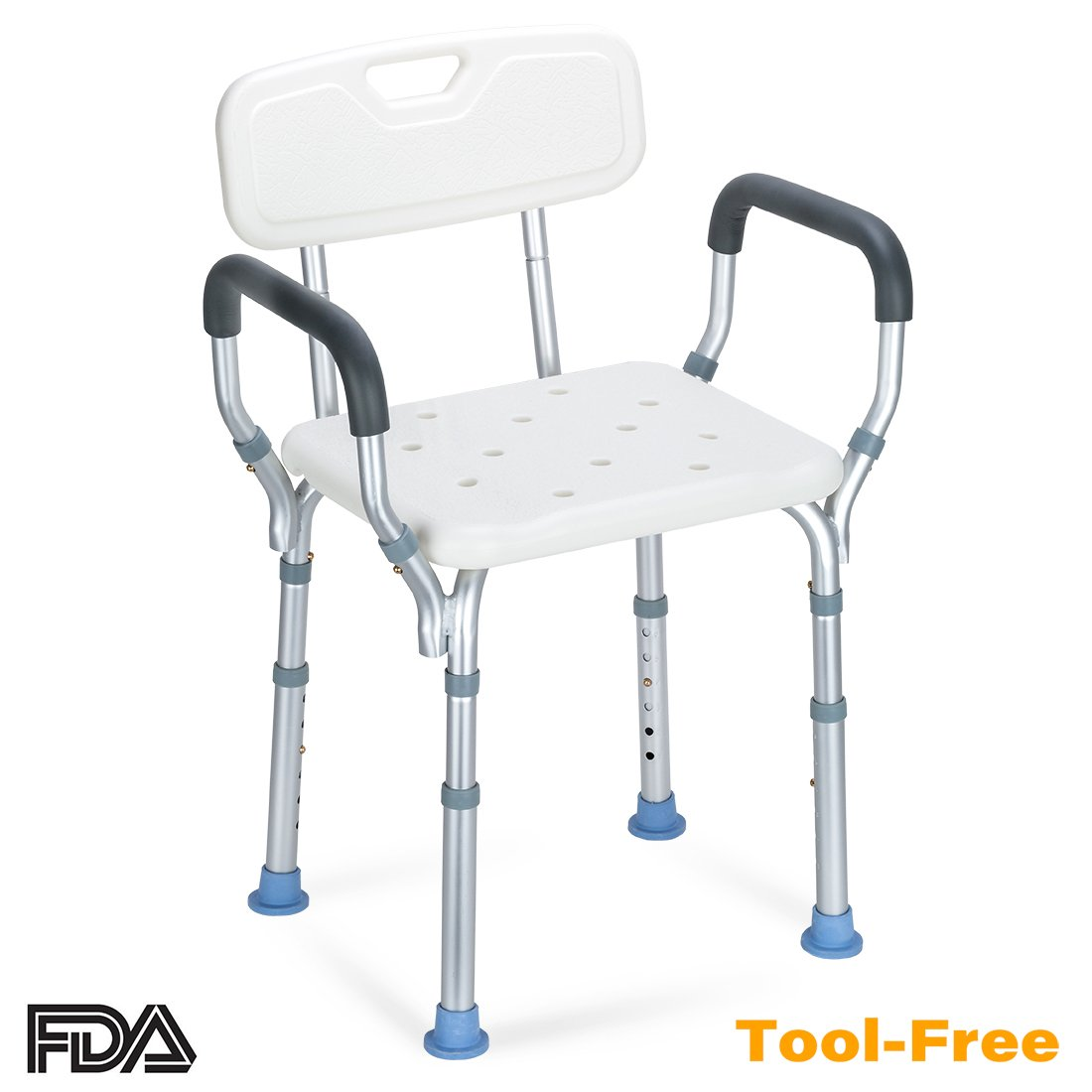 OasisSpace Heavy Duty Shower Chair with Back - Bathtub Chair with Arms for Handicap, Disabled, Seniors & Elderly - Adjustable Medical Bath Seat Handles - Non Slip Tub Safety