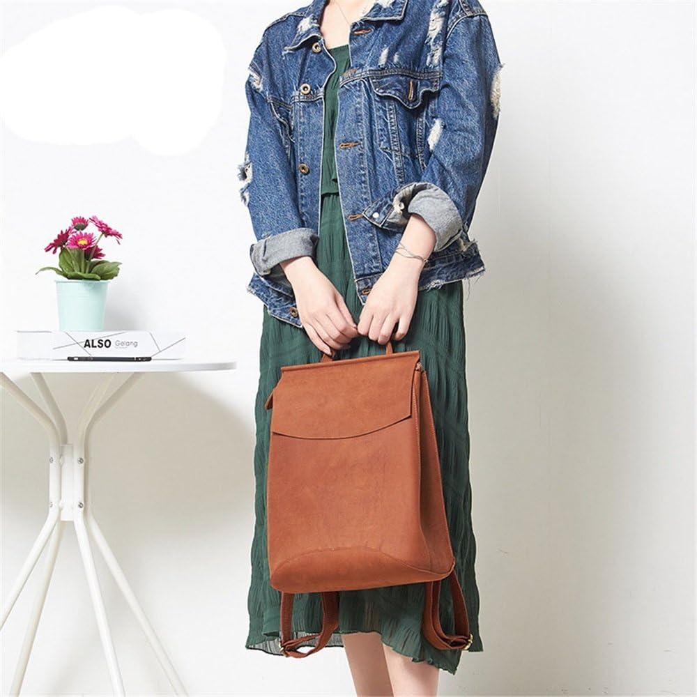 FeliciaJuan Vintage Womens Backpack Genuine Leather Daypack Waterproof Zipper Travel Shopping