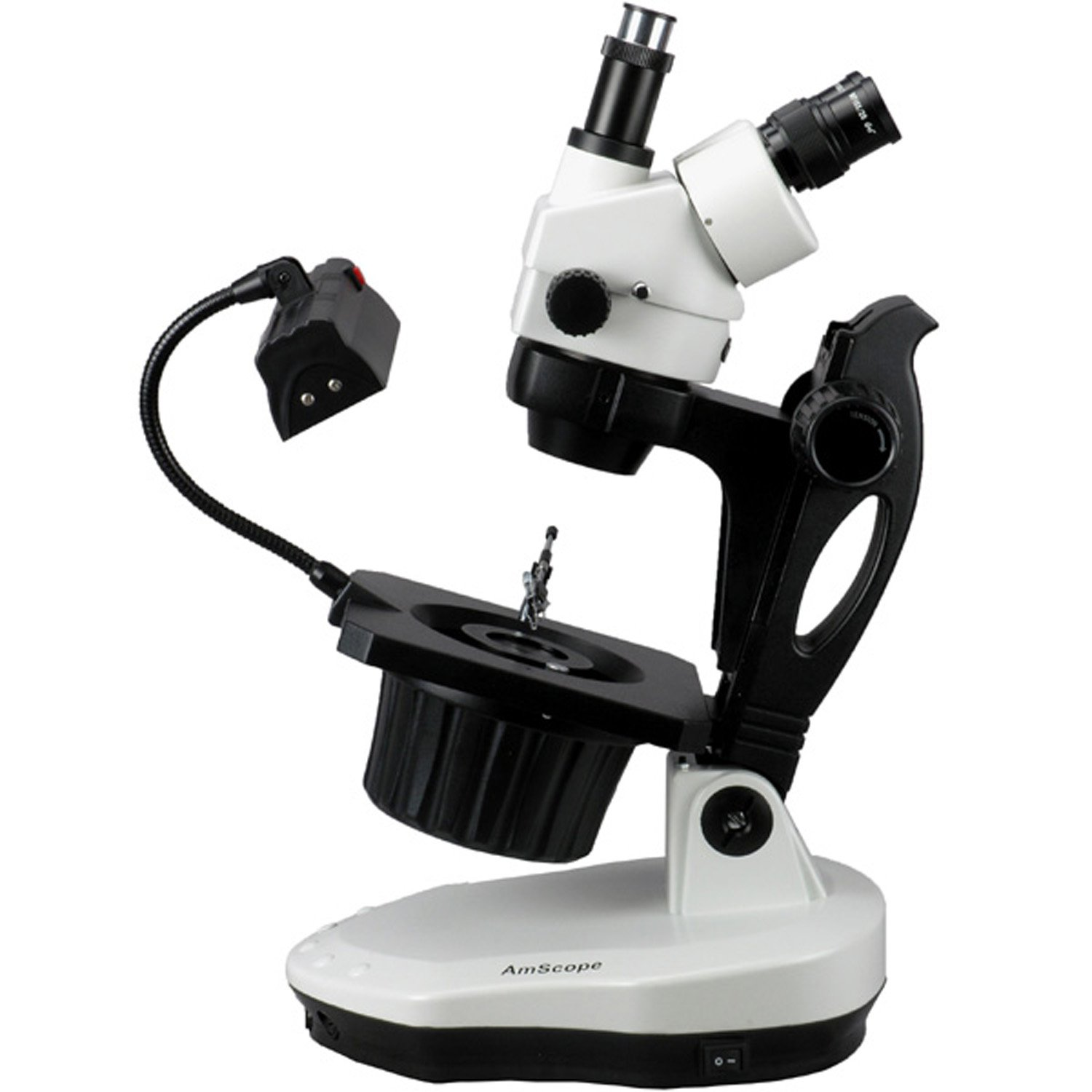 AmScope GM400T Trinocular Gemology Stereo Zoom Microscope, WH10x Eyepieces, 7X-45X Magnification, 0.7X-4.5X Zoom Objective, Halogen and Fluorescent Lighting, Inclined Pillar Stand, 110V-120V by AmScope