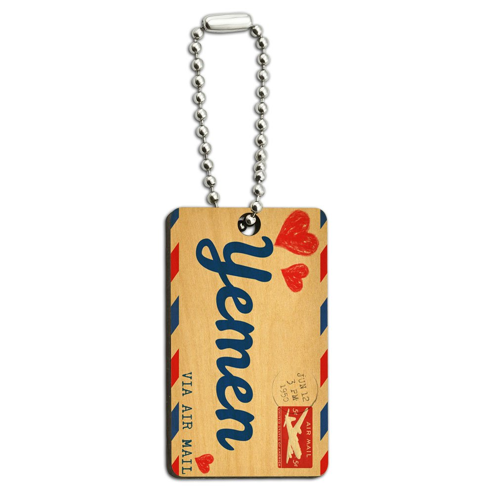Air Mail Postcard Love for Yemen Wood Wooden Rectangle Key Chain