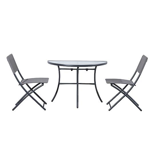SALON DE JARDIN TABLE DE BALCON EN DEMI LUNE DEMI-CERCLE AVEC 2 ...