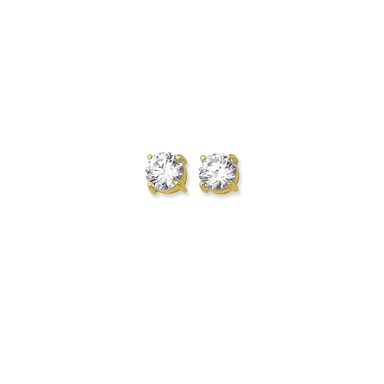 14K White Gold Round Diamonds Stud Earrings by Icedtime