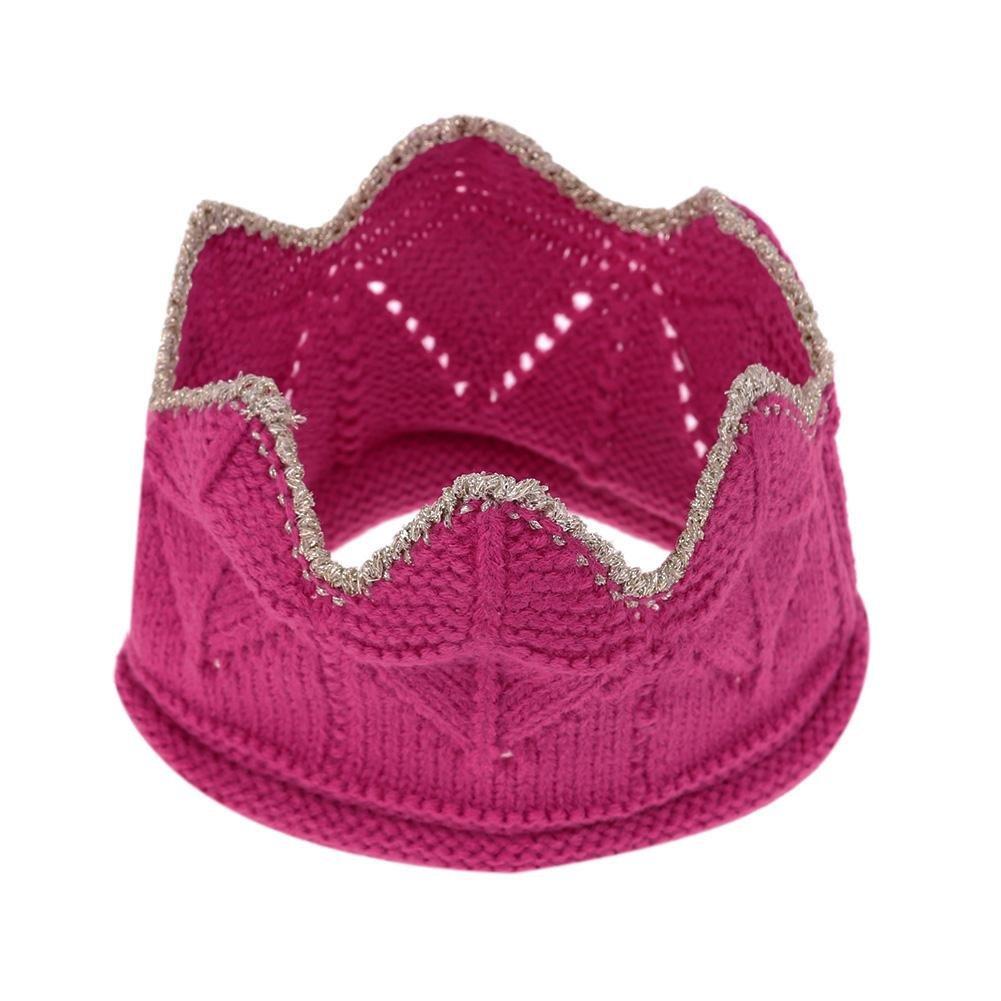 Lookthenbuy Girl Hair Band Crown Wool Tiara Knitted Hair Band