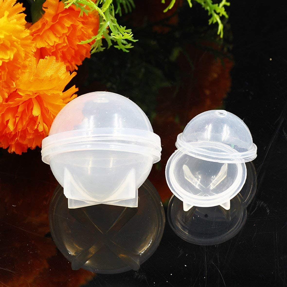 Heaviesk Bola de epoxy de Molde de Resina de Silicona de Esfera Redonda para joyer/ía Muestra de Flor DIY Bola de Gel de Gota de Cristal Hecha a Mano