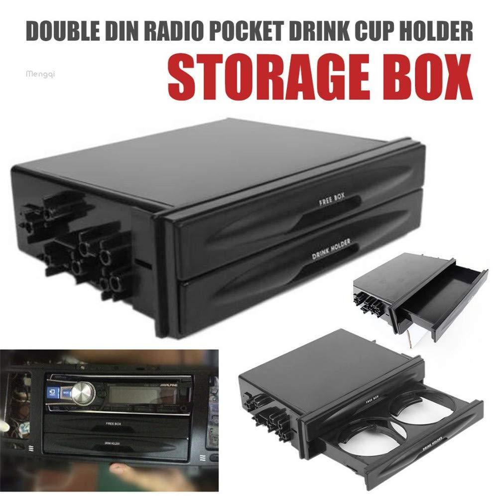 Universal 2 In 1 Auto Aufbewahrungsbox mit Getr/änkehalter Hochwertigem Kunststoff Double Din Radio Pocket Fahrzeugzubeh/ör Schwarz