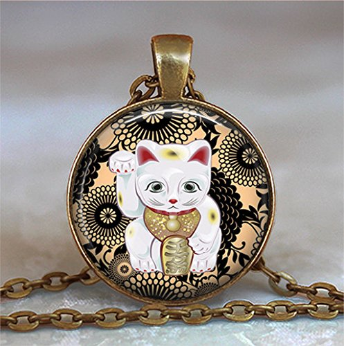 Black and Tan Maneki Neko necklace, Maneki Neko pendant, Japanese Lucky Cat necklace charm, Lucky Cat jewelry,