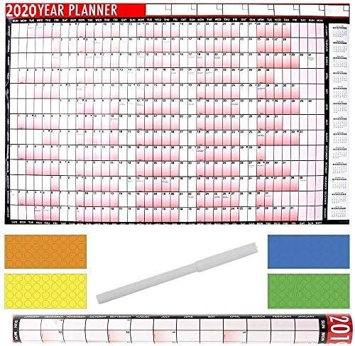 JMS® Jahresplaner, A1, groß, laminiert, 85 x 58 cm, mit trocken abwischbarem Marker und Aufkleberpunkten 2020 A1 Planner