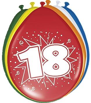 Folat 08218 - Globos de 18 años, 30 cm, 8 Piezas, Multicolor ...