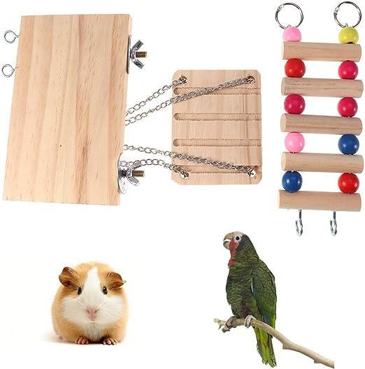 POPETPOP Escalera de hámster y Plataforma de cuy con Columpio de Madera Escalera y Plataforma de Descanso para ratón Chinchilla Rata jerbo y hámster Enano: Amazon.es: Productos para mascotas