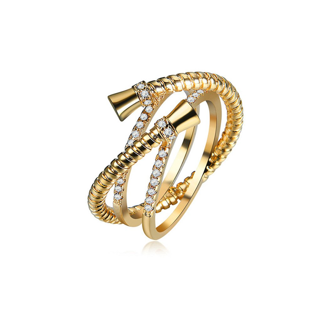 Mrsrui 13 MM Stainless Steel Cross Snake Ring Women Girls Statement Cocktail Ring Crystal Gold Gold Plated