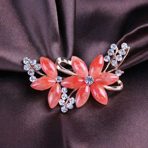 Kitty-Party Brooches Golden Plated Flashing Clear and Red Rhinestones Crystals Pearls Flower Leaves Brooches Pin Clips