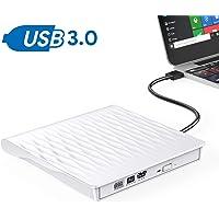 OUDEKAY Externes CD-DVD-Laufwerk, USB 3.0, tragbar, ultradünn, CD- / DVD-Brenner, High-Speed-Datenübertragung, optische USB-Laufwerke für Windows Win10/XP/Win 7/Win 8/Vista/Linux/Mac OS (weiß)