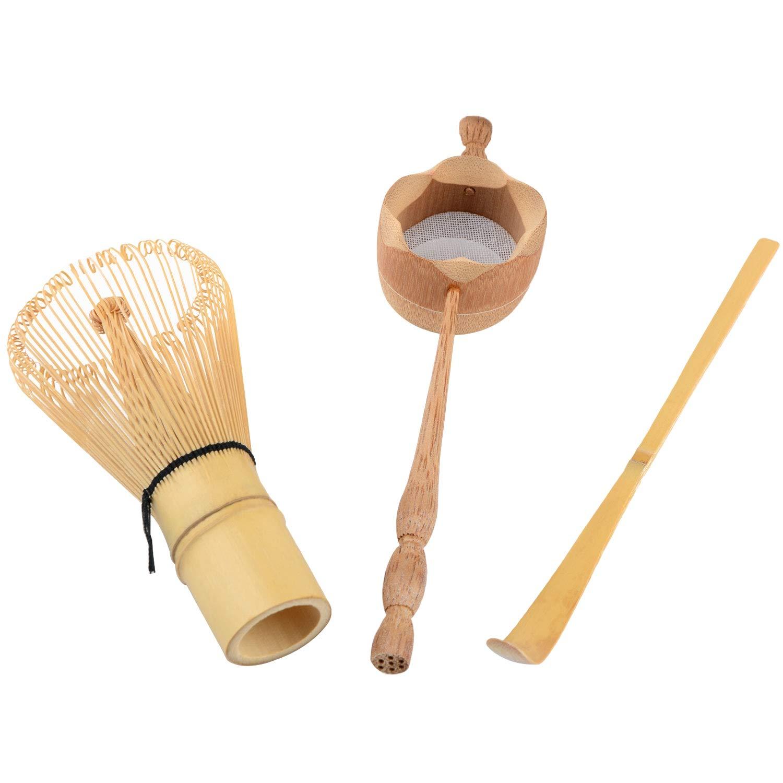 bobotron Colador de T/é de Bamb/ú Natural Cepillo de Batir Matcha Juego de Cucharada de Batidor de T/é Verde en Polvo Juego de Utensilios de T/é Accesorios de Cocina 3 Piezas