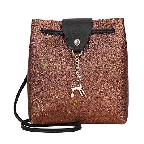 Women Bag Leather Deer Ladies Pure Brown Small Fashion Bag Muium Messenger Crossbody Sequins Color dB7dw
