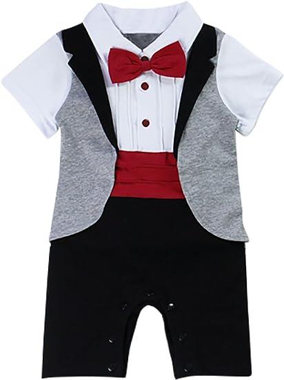 MainaisiTraje de bebé recién nacido bebé bebé niño Tuxedo algodón ...