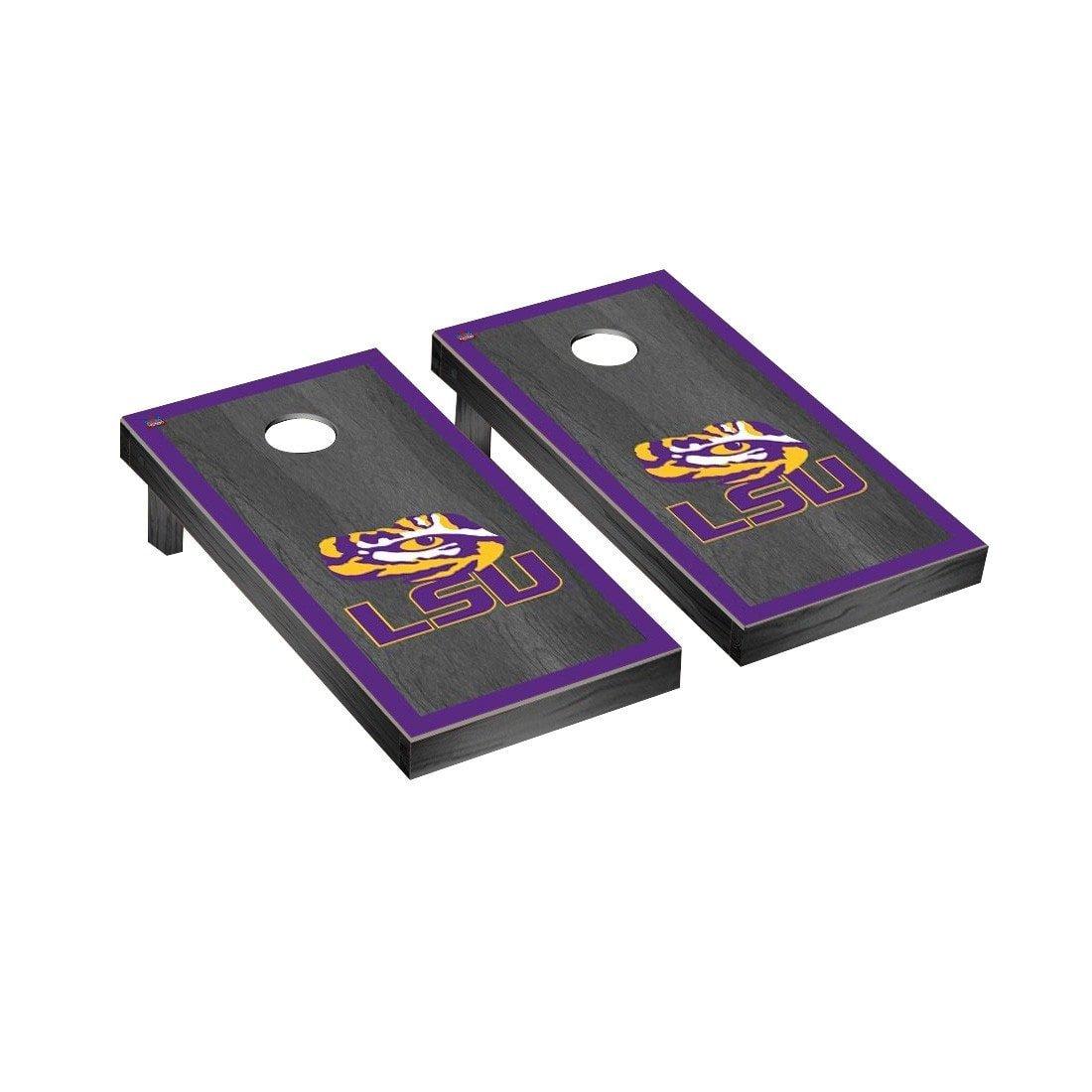 Victory Tailgate Louisiana State LSU Tigers Regulation Cornhole Game Set Onyx Stained Border Version