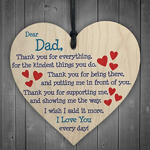 Dad I Love You Everyday Father's Day Gift Wooden Hanging Heart Cute Dad Sign