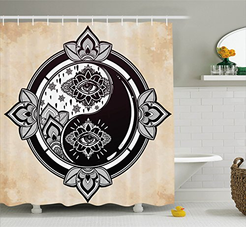 Ambesonne Ying Yang Decor Collection, Mystical Yin Yang Sign Third Eye Design Bohemian Magical Asian Arts Grunge Style Art, Polyester Fabric Bathroom Shower Curtain Set, 75 Inches Long, Black White