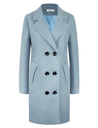 1479d2604d4 APTRO Women's Winter Double Breasted Wool Coat Long Lapel Overcoat WS01  Light Blue S