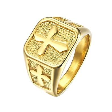 Sinleo Mens Stainless Steel Vintage Medieval Cross Symbol Ring Gold