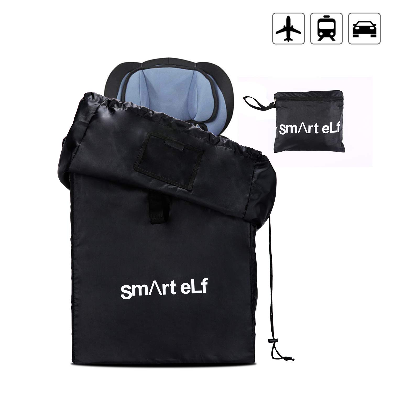 Smart elf Car Seat Travel Bag, Universal Waterproof Size Car Seat Cover Gate Check Drawstring Backpack Bag with Shoulder Straps for Stroller, Car Seats, Boosters and Infant Carriers by Smart elf