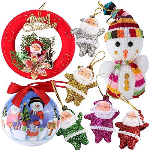 Plush Snowman Family Christmas Wreath - Roxie Classic Christmas Decorations Home Decor Shatterproof Pet Ball Ornaments Snowman Plush Doll Santa Claus Wreath Perfect for Xmas Tree Parties Home Wedding Festival Decoration (Family)