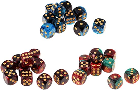P Prettyia 30pcs D6 Dados de 6 Caras con Puntos Blancos Transparentes para Juegos de Mesa Table Games Party: Amazon.es: Juguetes y juegos
