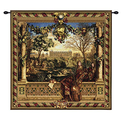 Le Chateau de Monceau by Louis Carrogis | Woven Tapestry Wall Art Hanging | Louis XIV Palace Garden with String Musicians | 100% Cotton USA Size 53x53