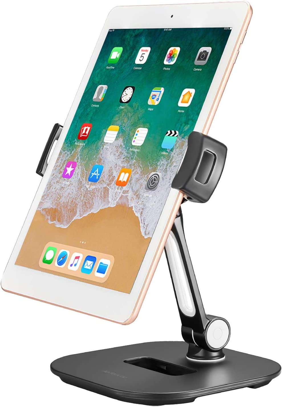 Aedericoe Aluminum Tablet Holder Cell Phone Stand 360° Swivel Tablet Stand Holder for Office Desk Kitchen, Compatible with iPad iPhone Samsung 4-11'' Devices
