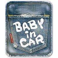 【マグネット】デニム風 BABY IN CAR マグネット ステッカー 赤ちゃんが乗っています ベビーインカー ベビーinカー/メイヴルアットホーム(BABY)