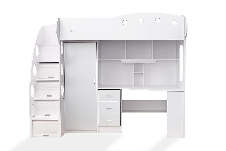 Soliving child lit combiné couchage et bureau autre blanc gris