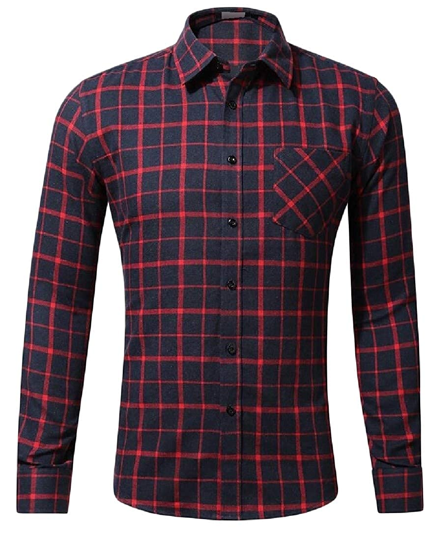 Sweatwater Mens Long-Sleeve Plaid Checkered Flannel Business Shirts