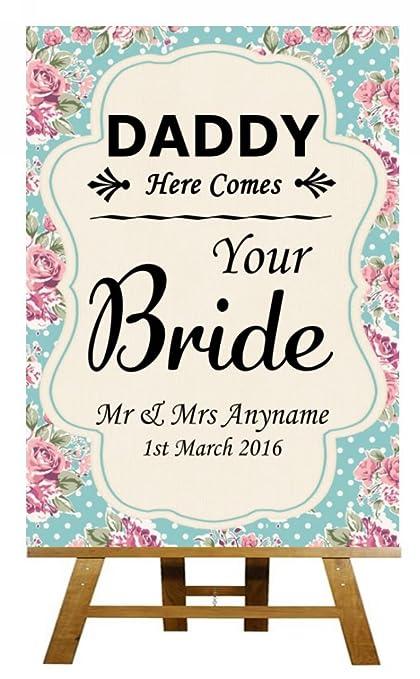 A3 Vintage Shabby Chic papi aquí viene tu novia boda cartel ...