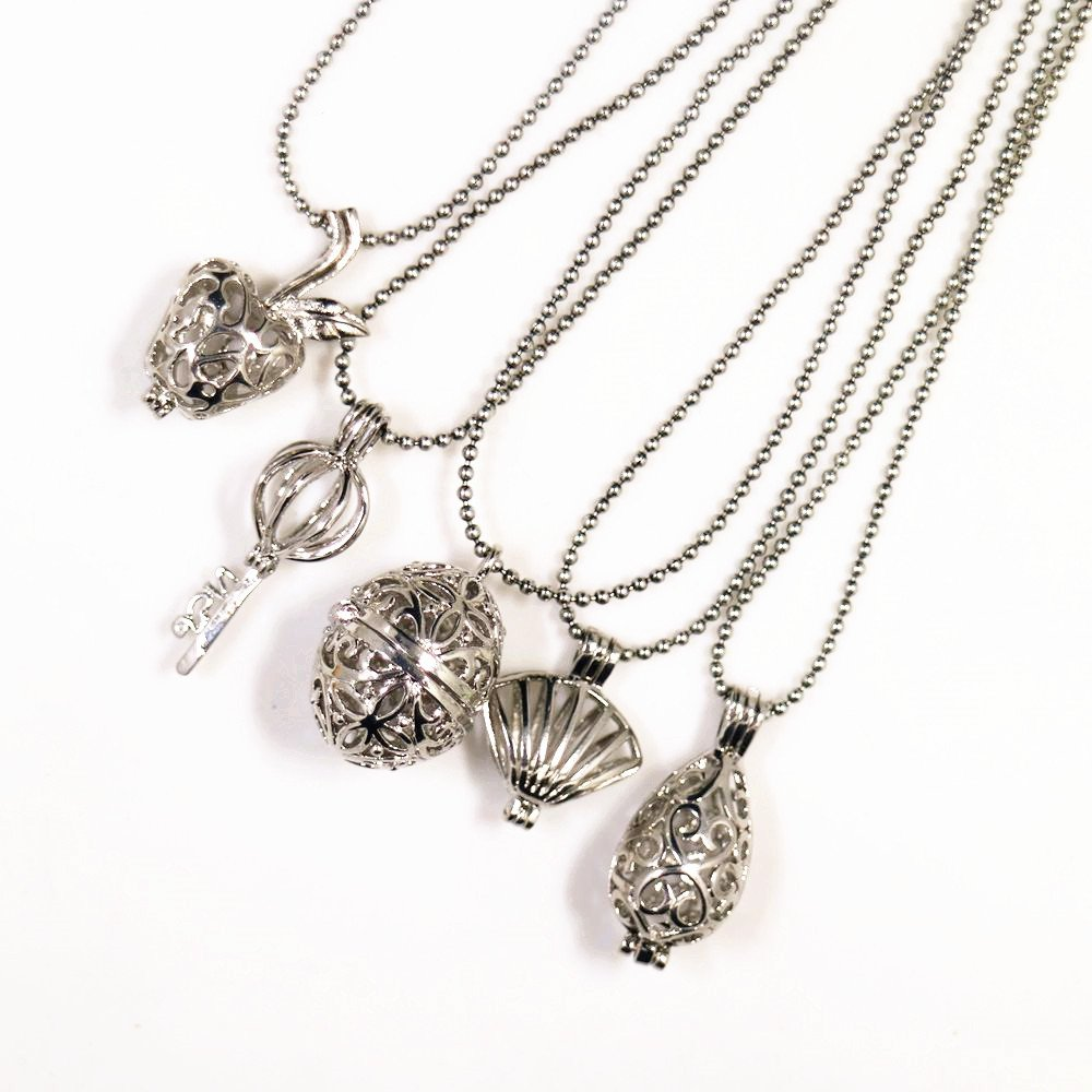 5pcs Mix Style Rhodium Plated Cage Essential Oils Aromatherapy Diffuser Locket Pendant Necklace manloufushi® 0001