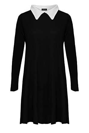 RIDDLED WITH STYLE Womens Ladies Plus Size Peter Pan Collar Long ...