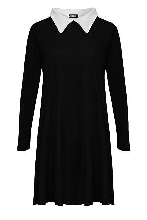addc6cc9dcc Womens Ladies Plus Size Peter Pan Collar Long Sleeve Skater Flared Swing  Dress (Black