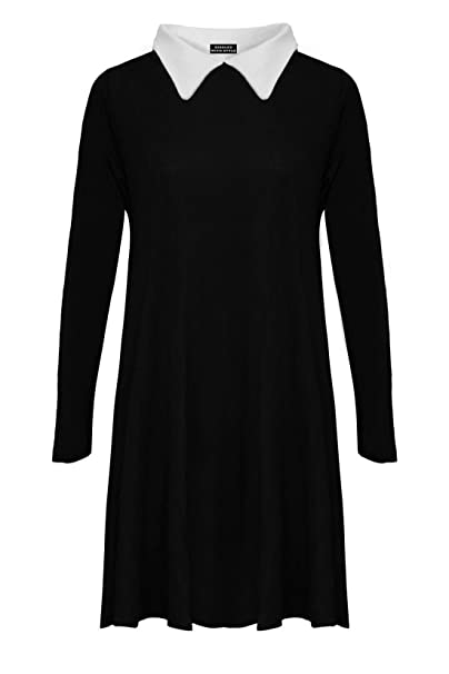 RIDDLED WITH STYLE Womens Ladies Plus Size Peter Pan Collar Long Sleeve  Skater Flared Swing Dress