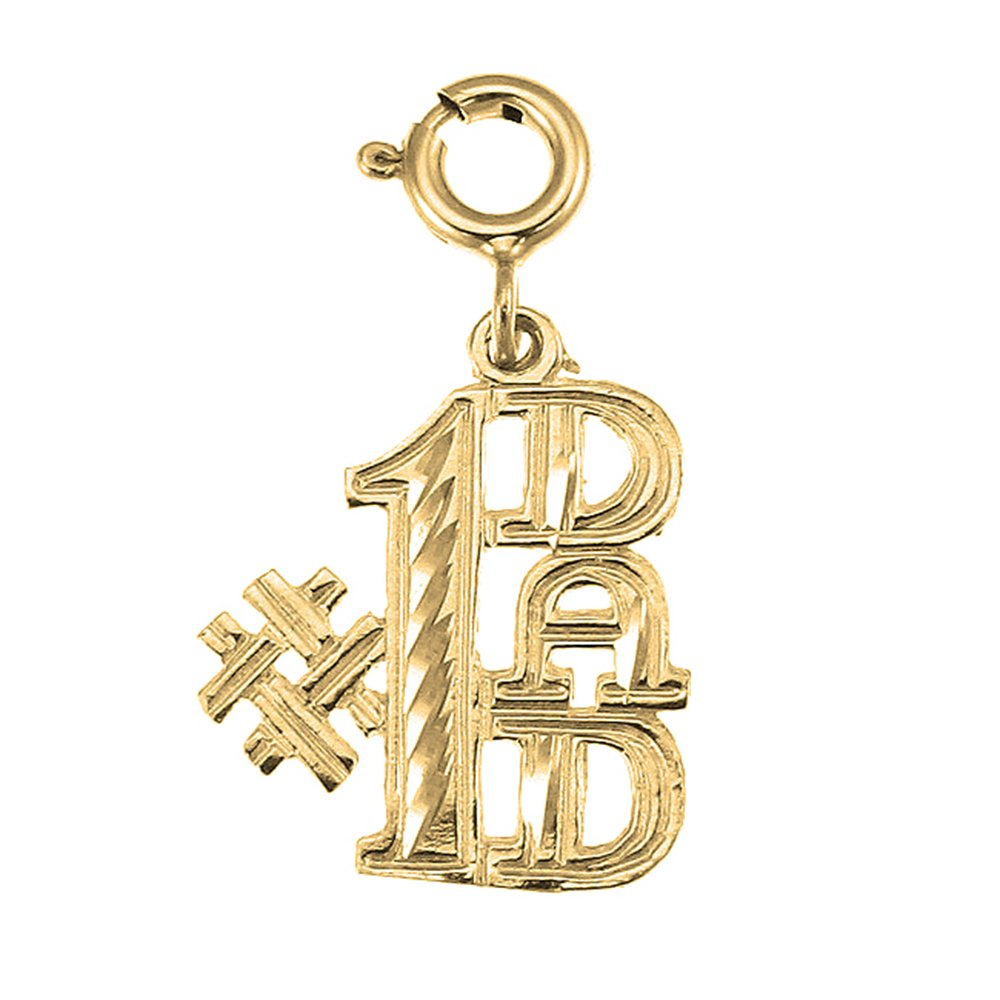 Jewels Obsession #1 Dad Necklace 14K Yellow Gold-plated 925 Silver #1 Dad Pendant with 16 Necklace