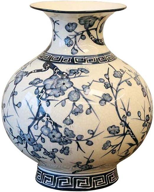 Set of 2 Cylinder Glazed Ceramic Vase Flower Arrange Decorative Display H 24cm