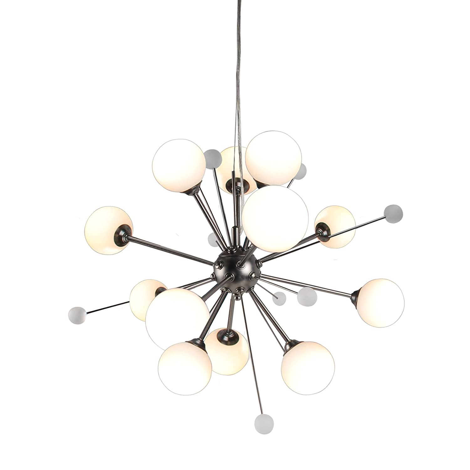Contemporary Sputnik Style Design 12 Light Industrial Nickel Finish Ceiling Chandelier Adjustable Drop First Choice Lighting