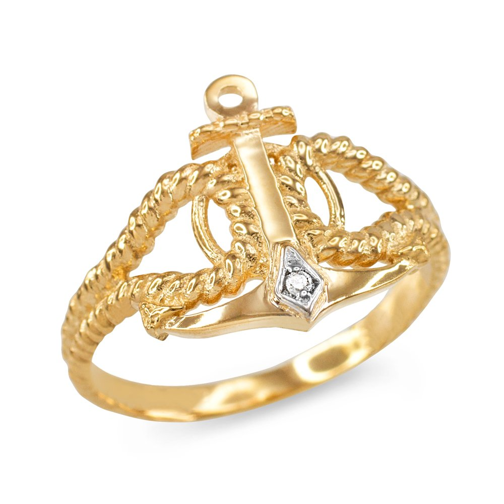 Twisted Style Nautical Rope and Anchor Diamond Ring in 10k Yellow Gold (Size 7)