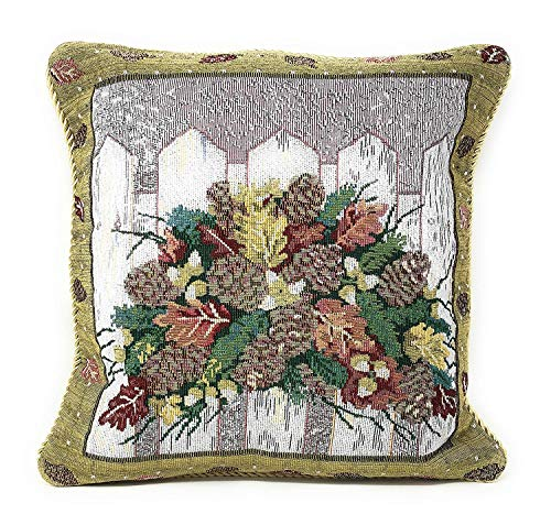 "DaDa Bedding Throw Pillow Covers - Set of 2 Elegant Christmas Bouquet - Woven Tapestry Floral Holiday Festive Cushion Cases - 18"" x 18"" ()"