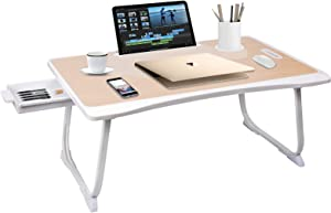 Amaredom Laptop Bed Desk Tray Bed Table, Foldable Portable Lap Desk Notebook Stand Reading Holder with Storage Drawer and Cup Holder for Eating Breakfast on Bed/Couch/Sofa-White