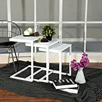 Set of 3 Stacking Coffee Tables,WarmCentre Nesting End Side Table with MDF Top & Metal Steel Tube for Living Room Waiting Room Balcony Home Office - White
