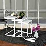EGGREE Modern Side End Table Set of 3 Stacking Coffee Table Nesting Corner Table Leisure Tea Table with White MDF Wood Steel Frame for Living Room Office Accent Furniture,White