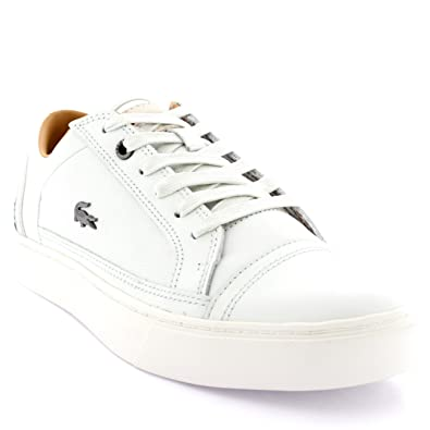 45f1300a06e68e Mens Lacoste Bowerey Leather Lace Up Casual Low Top Smart Sporty Trainers -  Off White - 12  Amazon.co.uk  Shoes   Bags