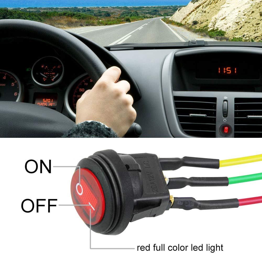 LED pulsante SPST On Off con cavo 18 AWG per auto camion interruttore on//off PerfectSELL rotondo Jeep e barca 12 V 4 pezzi Interruttore a levetta impermeabile
