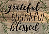 Grateful, Thankful, Blessed Black Lettering with Greenery 5 x 7 Small Wood Plank Design Plaque Sign